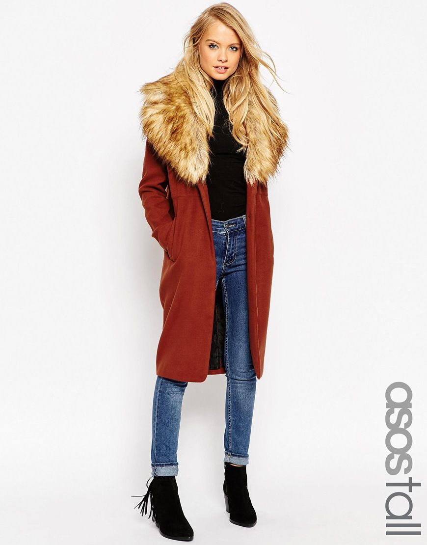 bc44f36f59188 ASOS TALL Coat With Oversized Faux Fur Collar