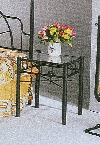 "Contemporary Bedroom Set London Black By Acme Furniture: ""sunburst"" Design Black Wrought Iron Metal Nightstand In"
