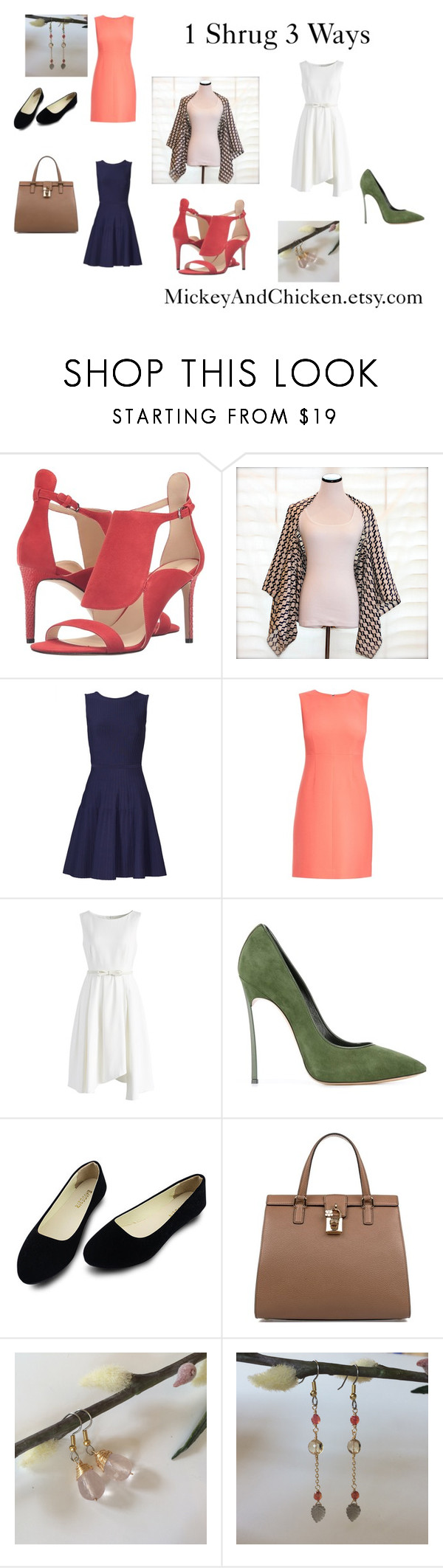 """1 Shrug 3 Ways"" by janet-london ❤ liked on Polyvore featuring Nine West, Pink Tartan, Diane Von Furstenberg, Chicwish, Casadei, Dolce&Gabbana, vintage, stylish and kimono"