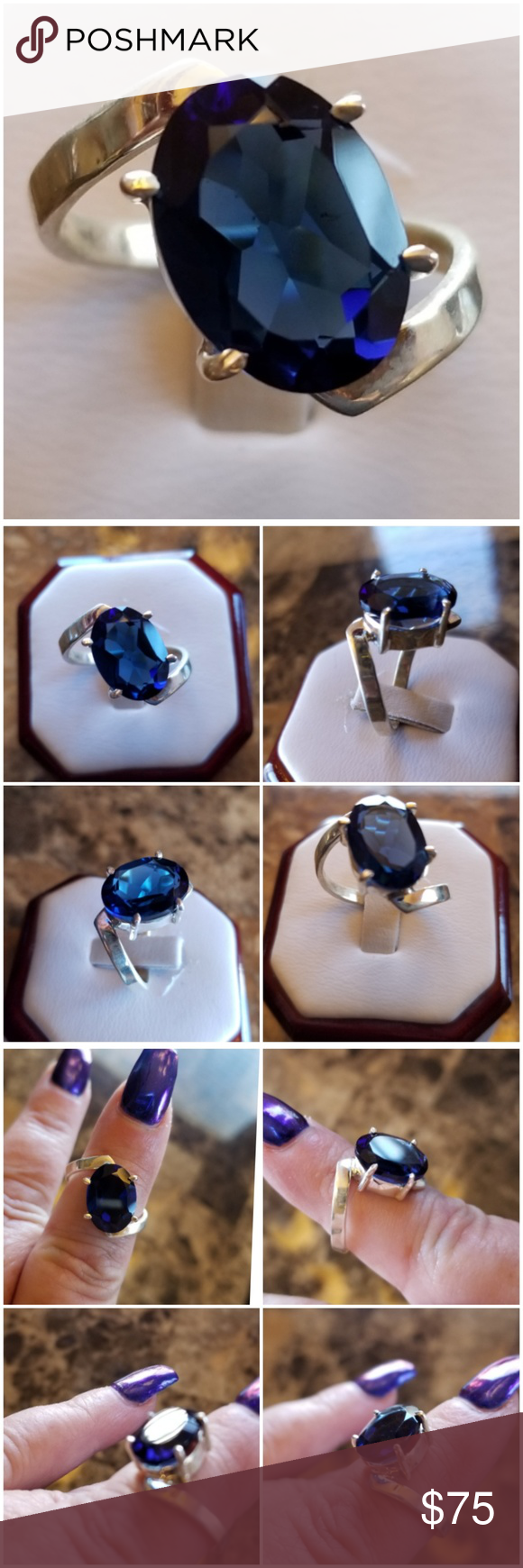 5ct Blue Sapphire Solitaire Ring Size 8 Sapphire