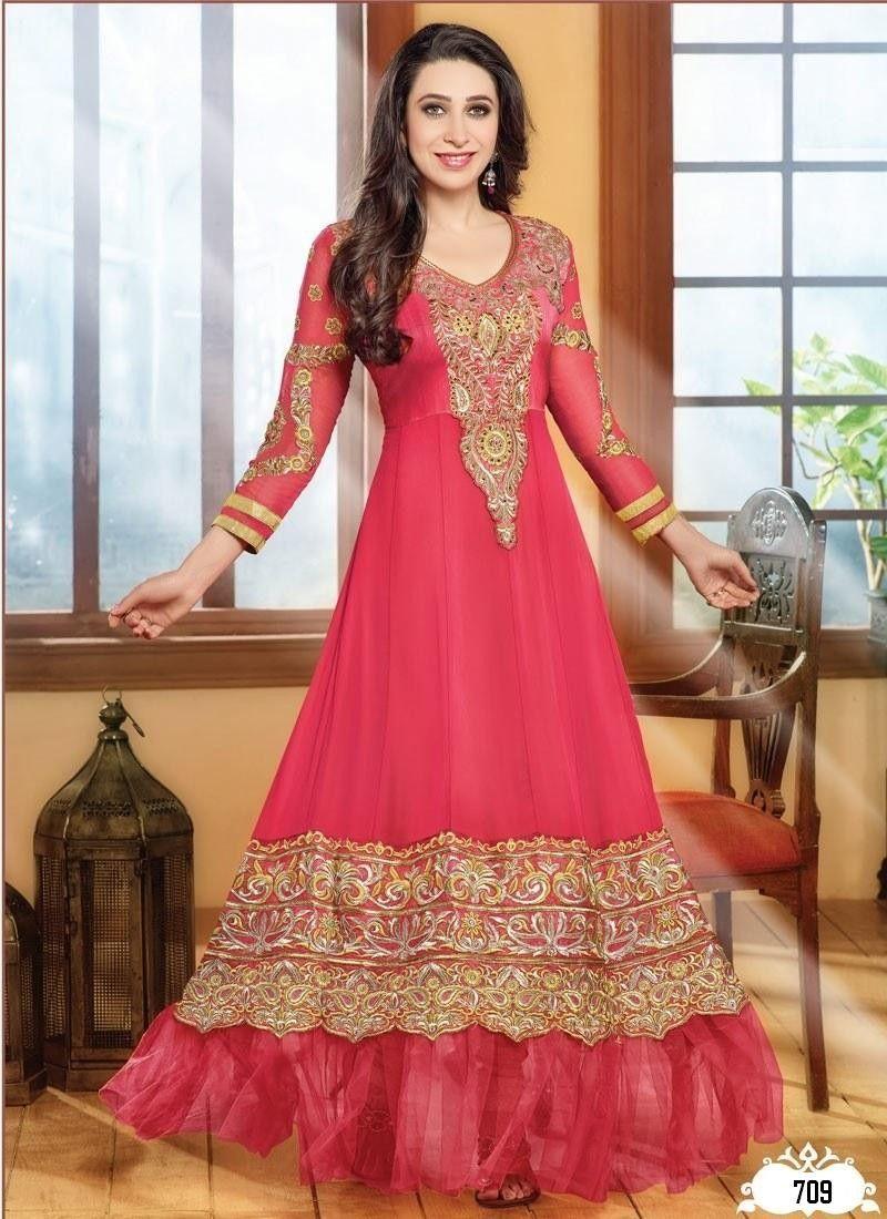 Red heavy bridal anarkali frock 7 suitanarkali in - Karishma Kapoor In Light Pink Designer Anarkali Suit