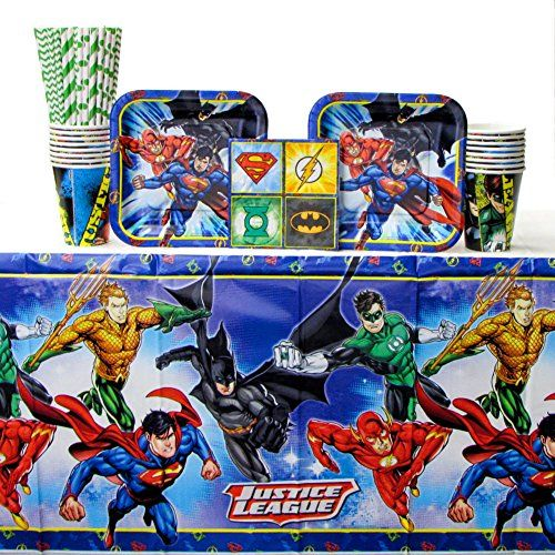 Justice League Birthday Party Tableware Napkins Plates Cups Table Covers