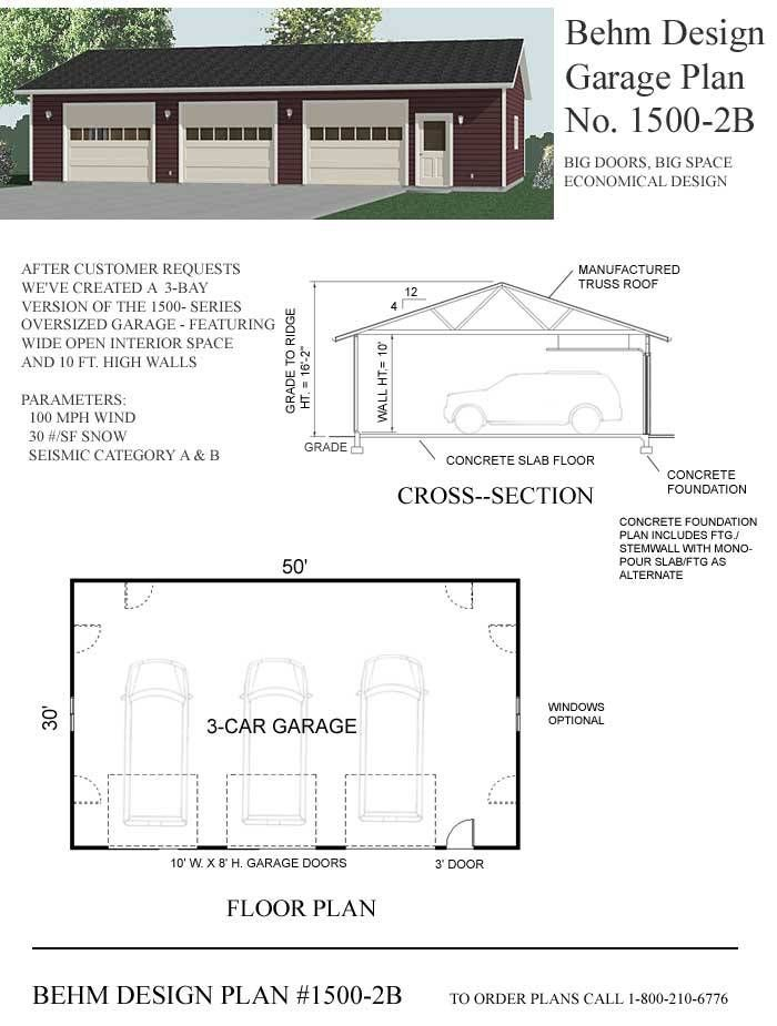3 Cars Basic Shop Garage Plan 1500 2b 50 X 30 By Behm 3 Car Garage Plans Garage Design Garage Plan