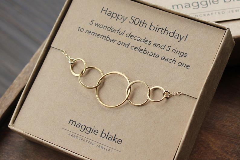50th birthday gift for women 5 gold interlocking rings