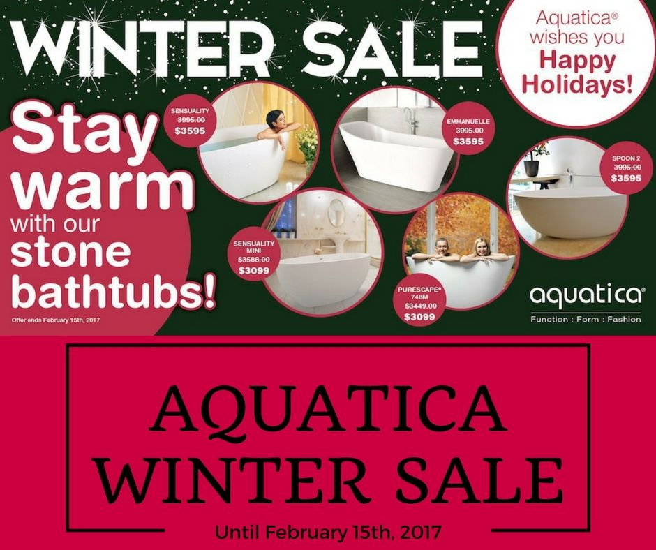 Aquatica stone tubs are on sale until February 15th, 2017 click on the pin to visit the website.
