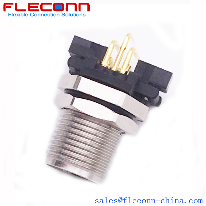 M12 A Code 5 Pole Male 90 Degree Right Angled Pcb Mounting Connector Coding Connector Angles