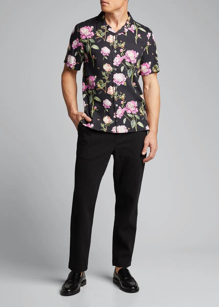 Mr.Macy Fashion Men Casual Summer Print Short Sleeve O-Neck Tops Blouse T-Shirts