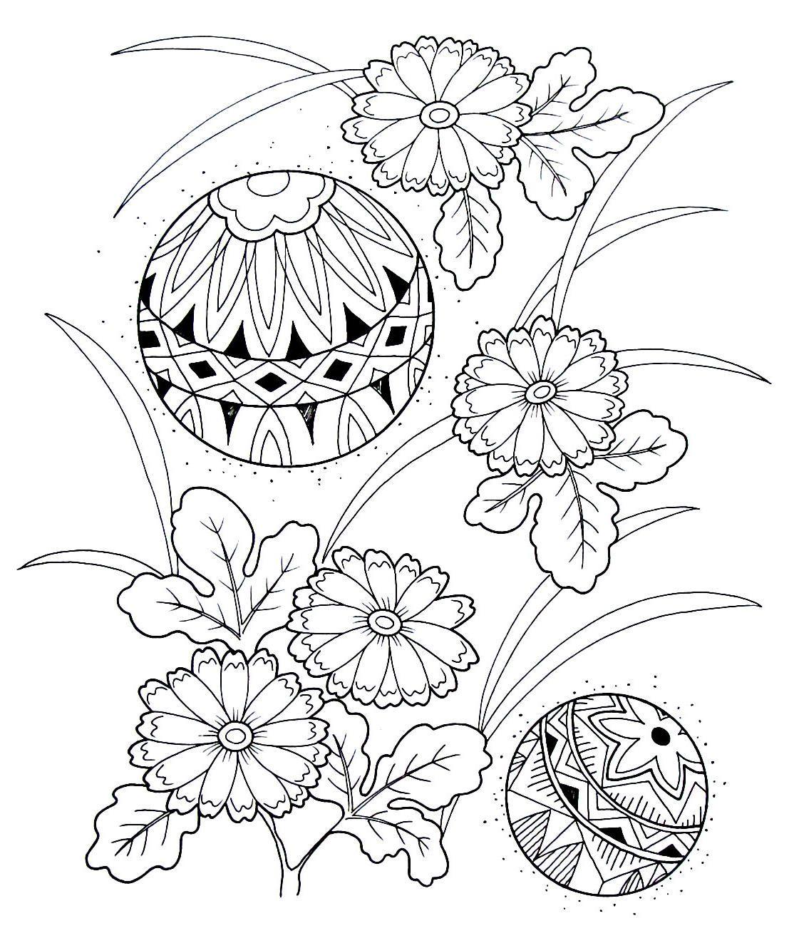 Balls and chrysanthemums - Japanese design coloring book printable ...