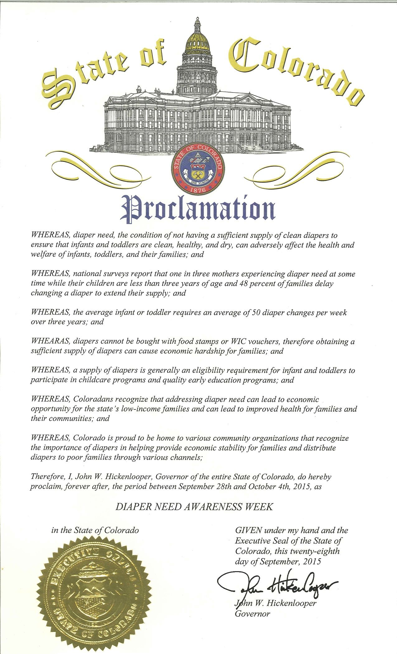 Colorado Governor John Hickenlooper's proclamation recognizing Diaper Need Awareness Week (Sept. 28 - Oct. 4, 2015) #DiaperNeed www.diaperneed.org