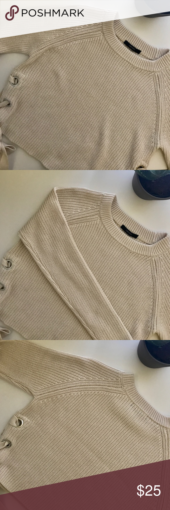 Cute cream crop sweater with side laces | Long sleeve crop top ...