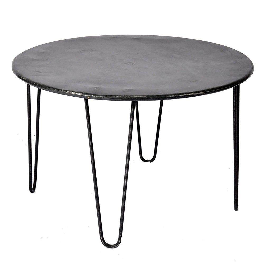 grey round coffee table with stools