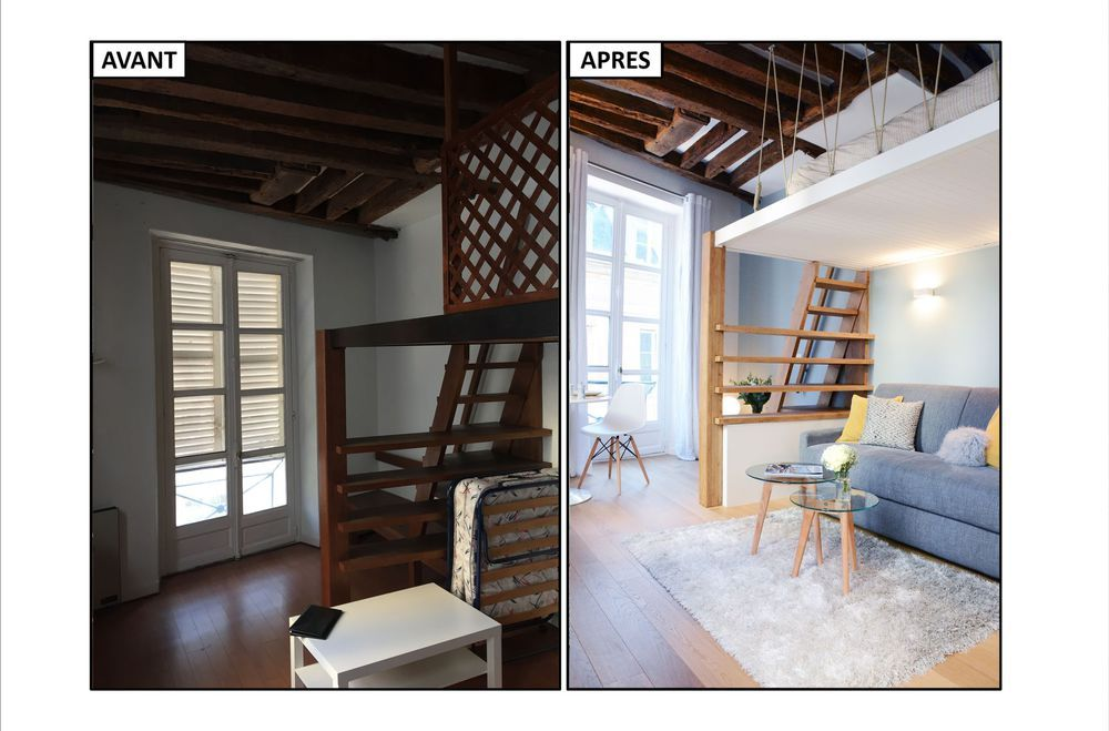 Studio Paris 6 23 M2 Renoves Avec Mezzanine Loft Appartement Revetements De Maison Studio Paris
