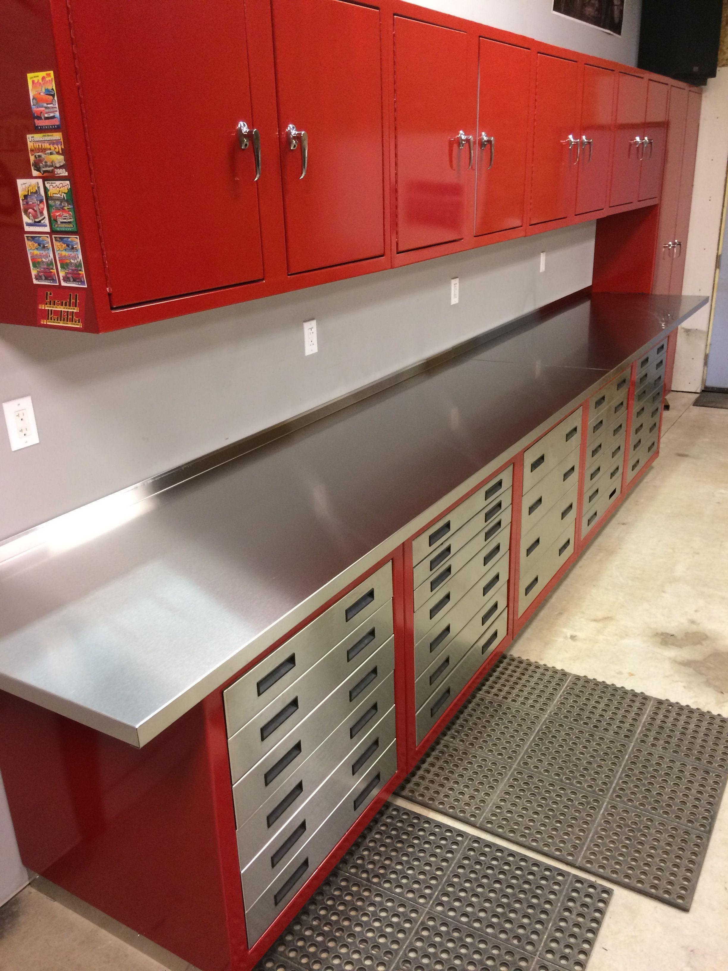 Unique Red Metal Garage Cabinets