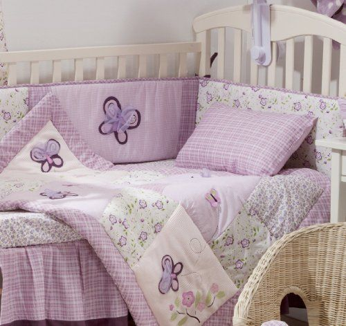 Purple Butterfly 4 Piece Crib Bedding Set Nursery Girl