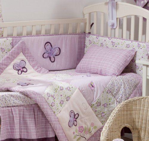 Purple Butterfly 4 Piece Crib Bedding Set Nursery Girl