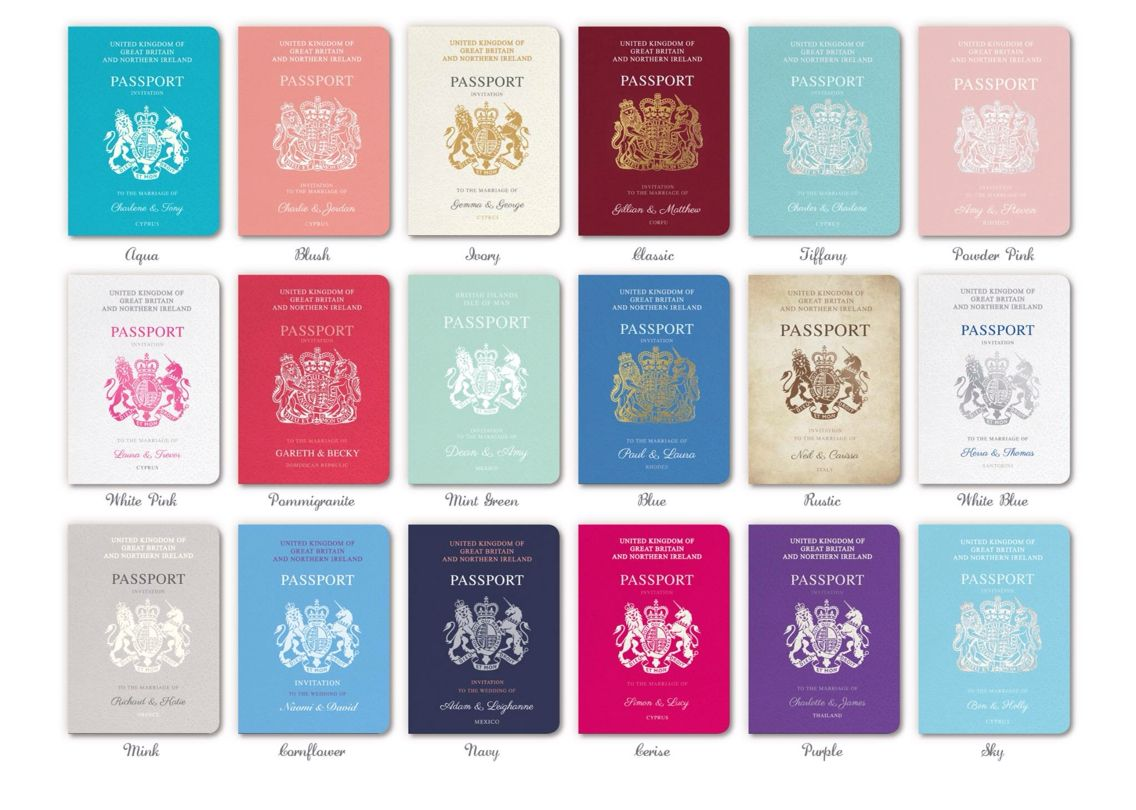 Passport wedding invites in the colour scheme of your choice, email ...
