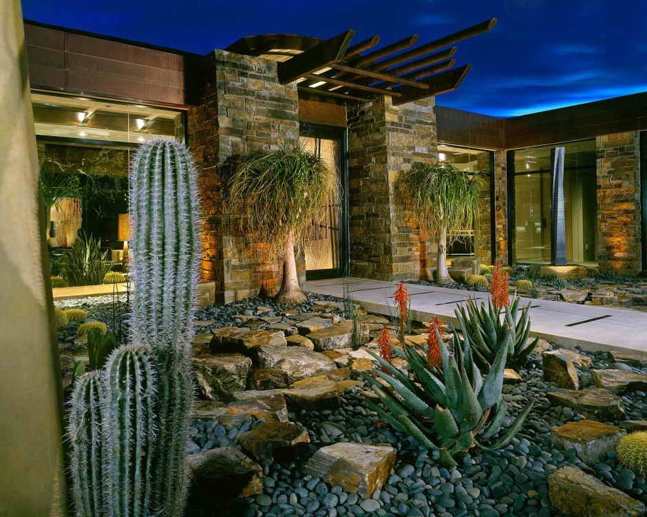 arizona outdoor architecture contemporary landscape design house residence rusnak minimalist - Home Landscape Design