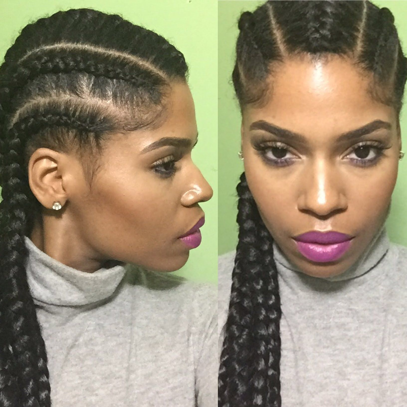 Natural Hair Protective Style With Jumbo Straight Back Cornrows