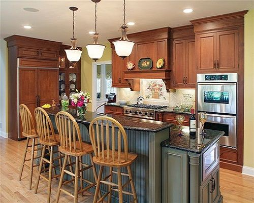 Unique Two Tier islands Kitchen