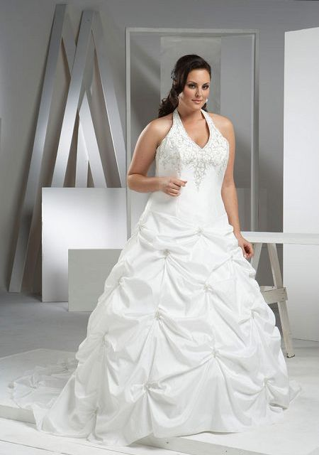 affordable wedding dresses cheap wedding dress for big woman ball gown halter neck deep v