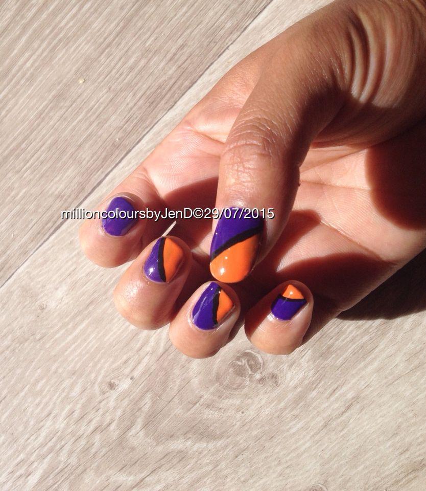 Nail art color violet - Nail Art 60 S Graphique Purple Orange Violet Et Orange R Alis Avec Le Vernis