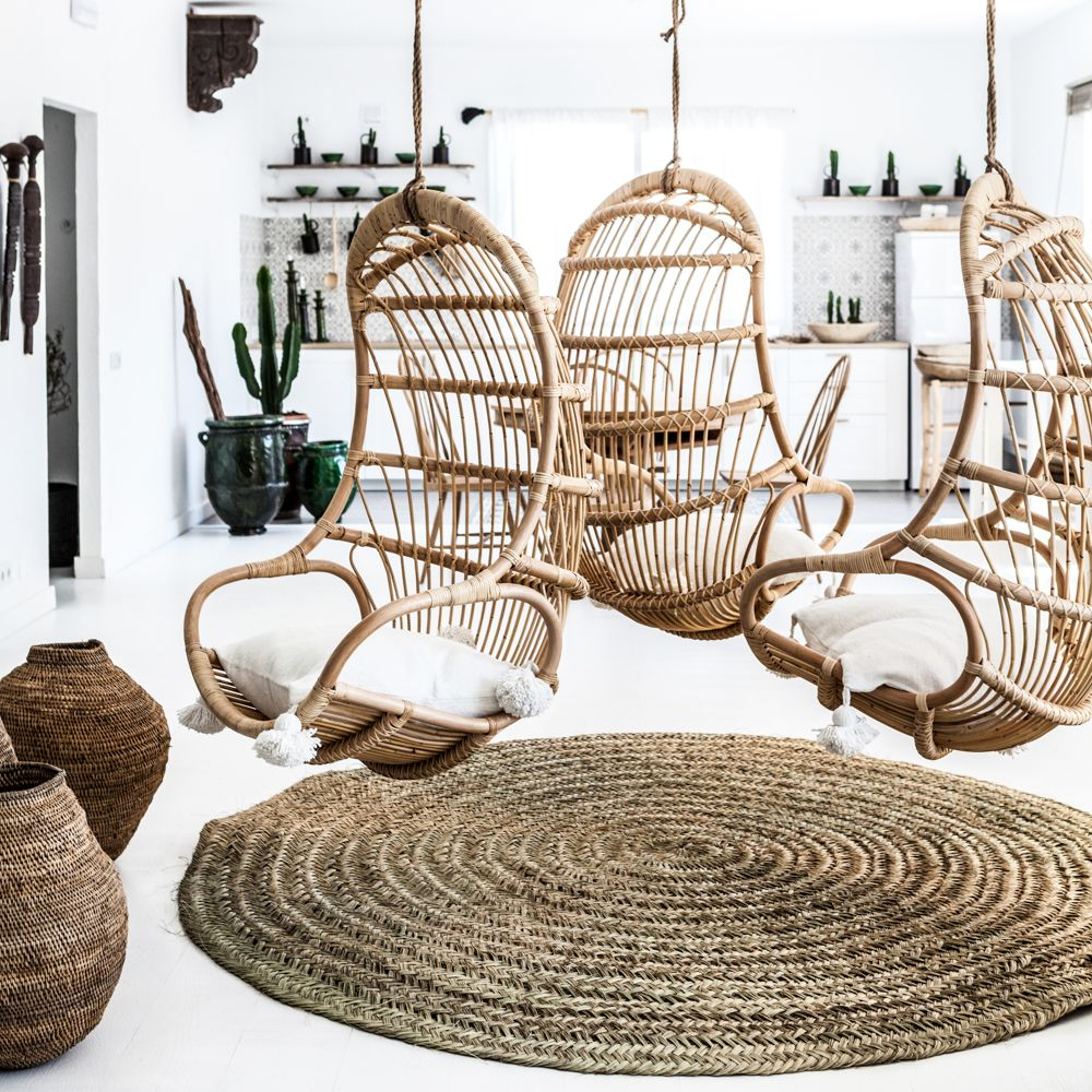 Hanging rattan chair Hanging chair, Macrame hanging
