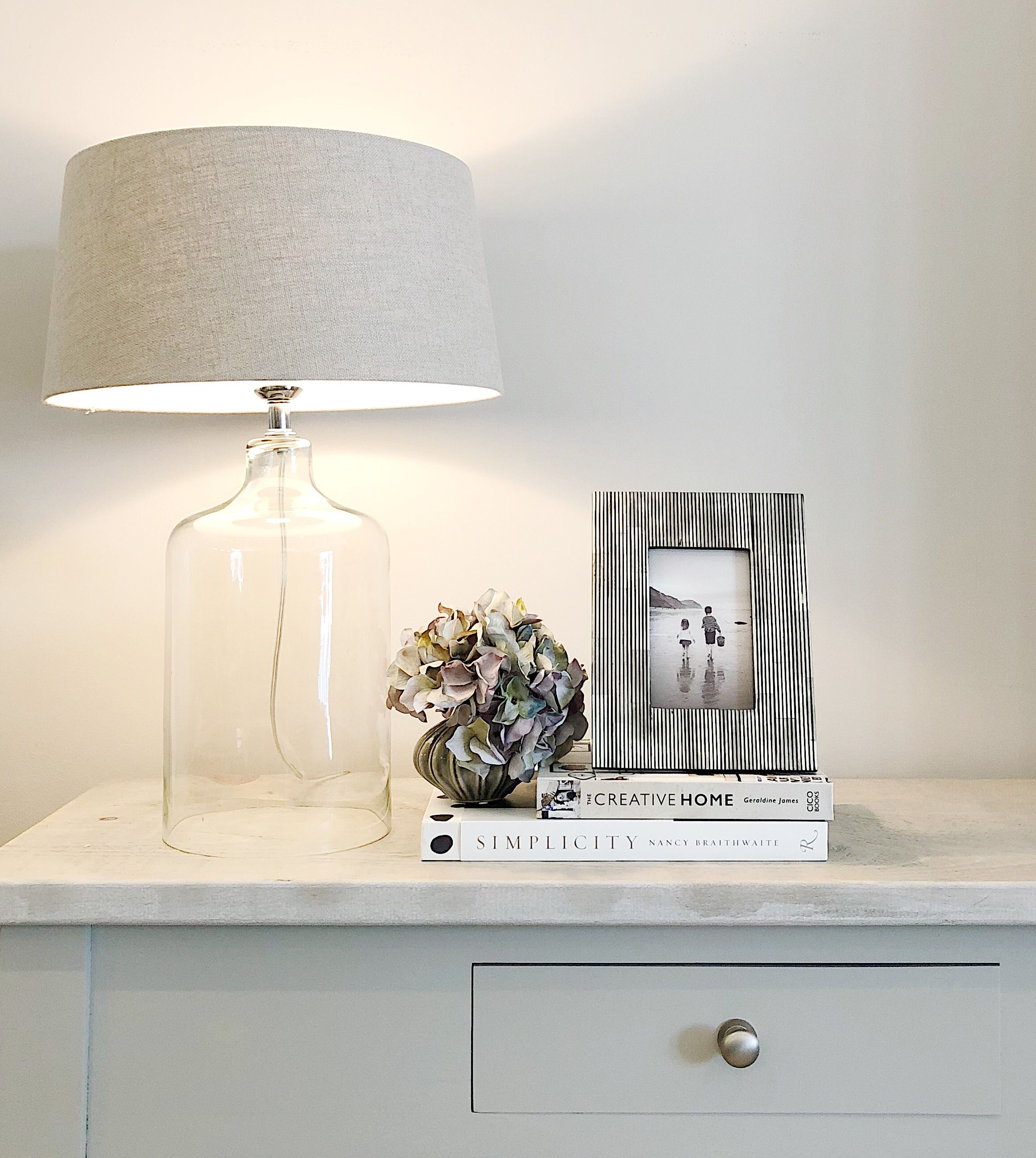 Clear Glass Bottom Table Lamps   Grey