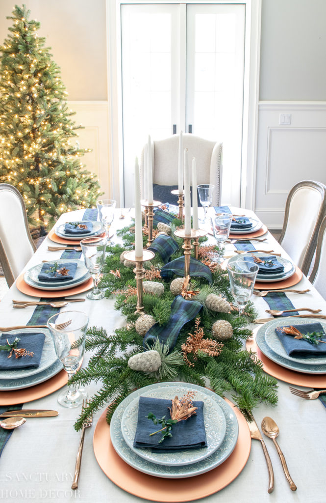 An Easy Christmas Centerpiece For A Long Table Sanctuary Home Decor Christmas Table Centerpieces Christmas Dining Table Christmas Dinner Table