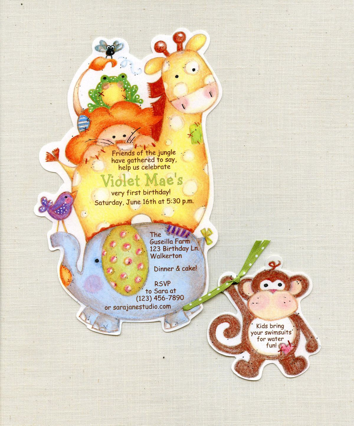 Personalized And Handcut Party Invitations Birthday Party - Birthday party invitations jungle
