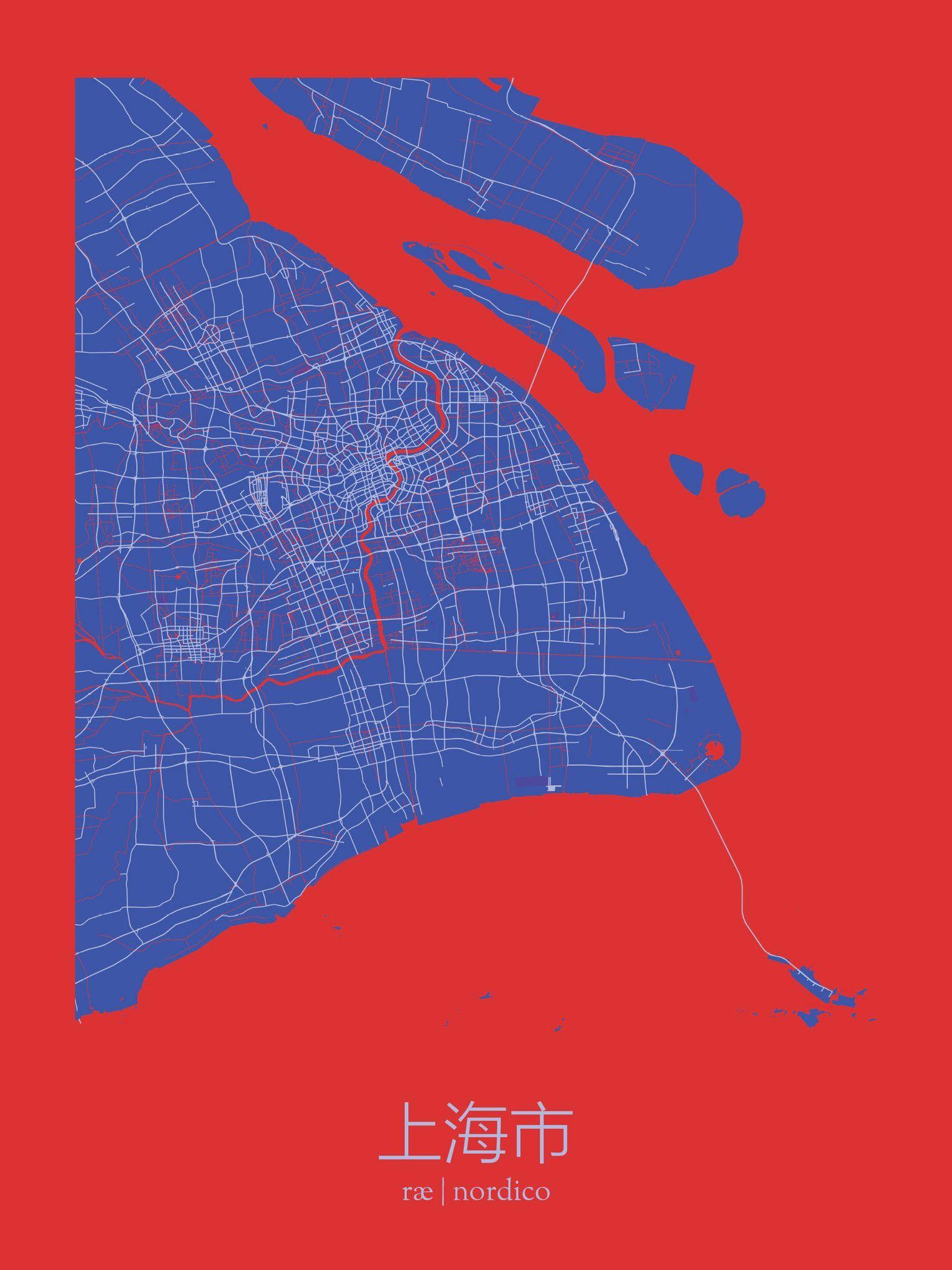 Shanghai, China Map Print | maps | Map, Map design, China map on