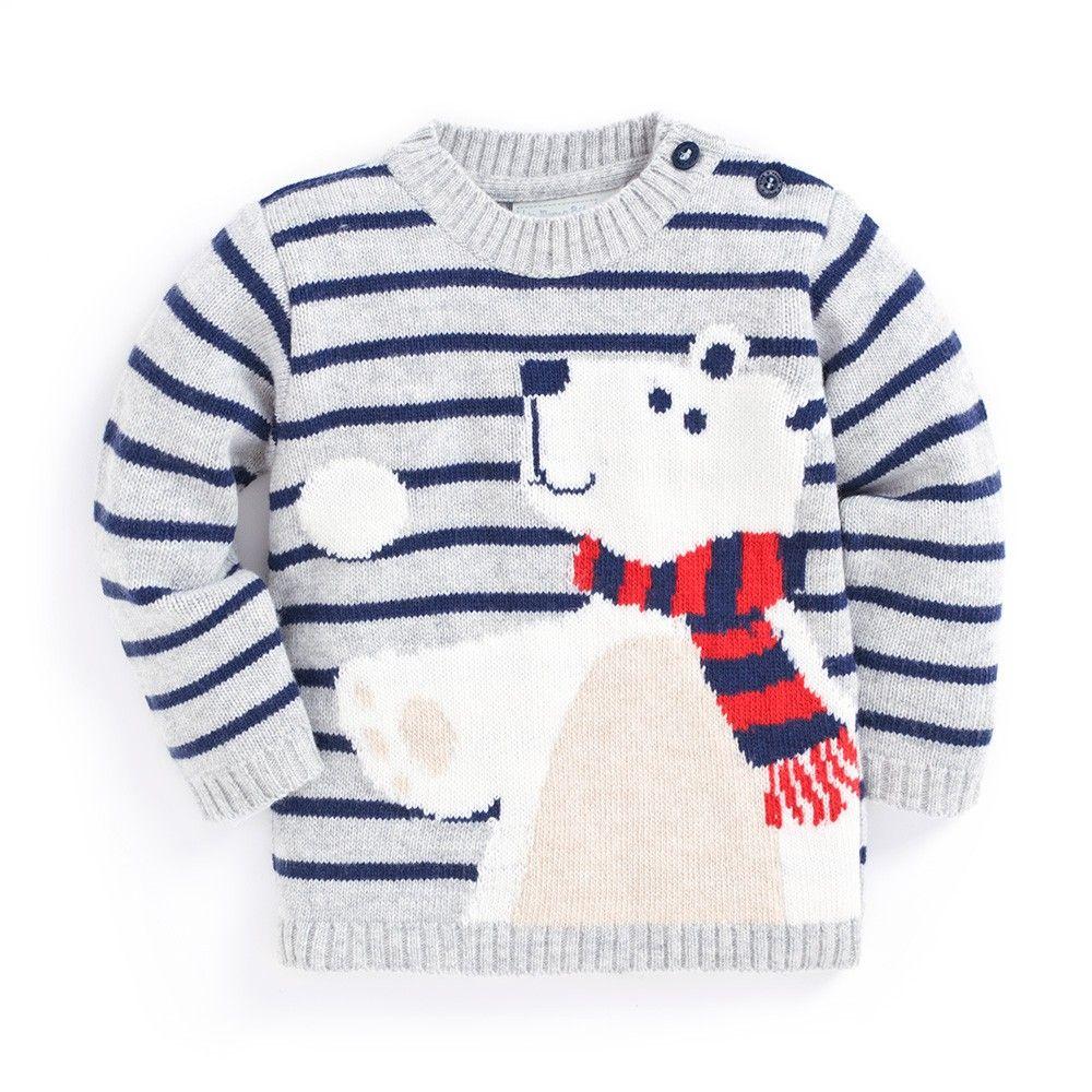 JoJo Maman Bebe Baby-Boys Newborn Striped Jersey Jumper