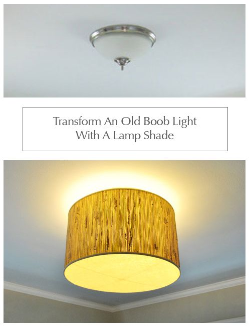 transform a dull ceiling light with a lamp shade