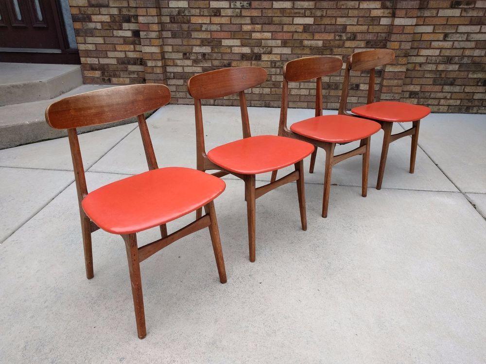 4 Danish Modern Mid Century Teak Dining Chairs Color Orange Vinyl