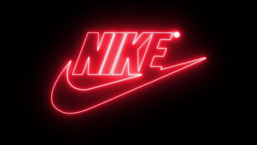 Photo of Nike with Neon Lights. Editorial Stock Footage Video