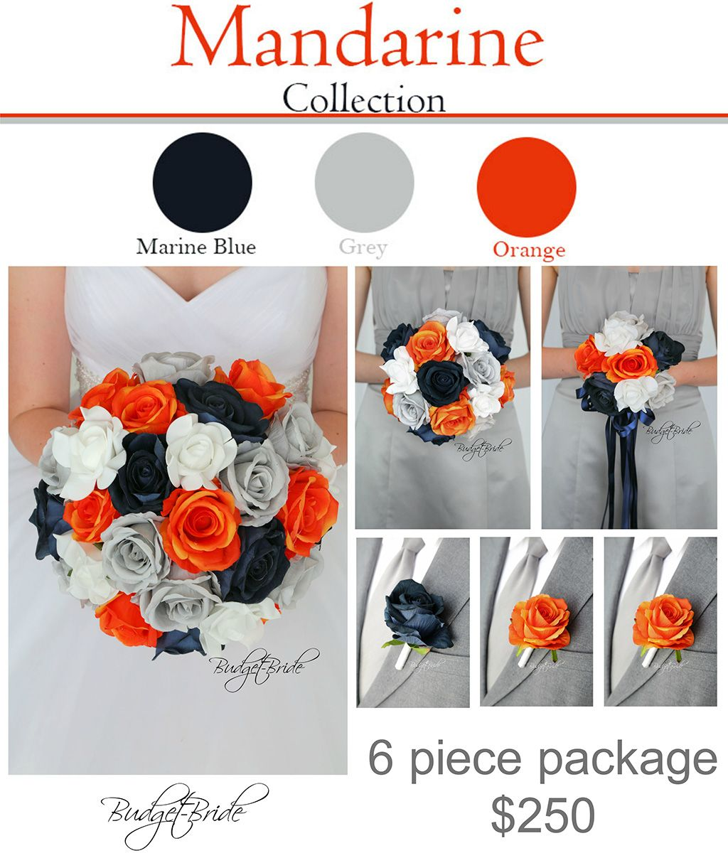 Marine Blue Grey And Orange Davids Bridal Wedding Bouquet For The Whole Party Flowers With