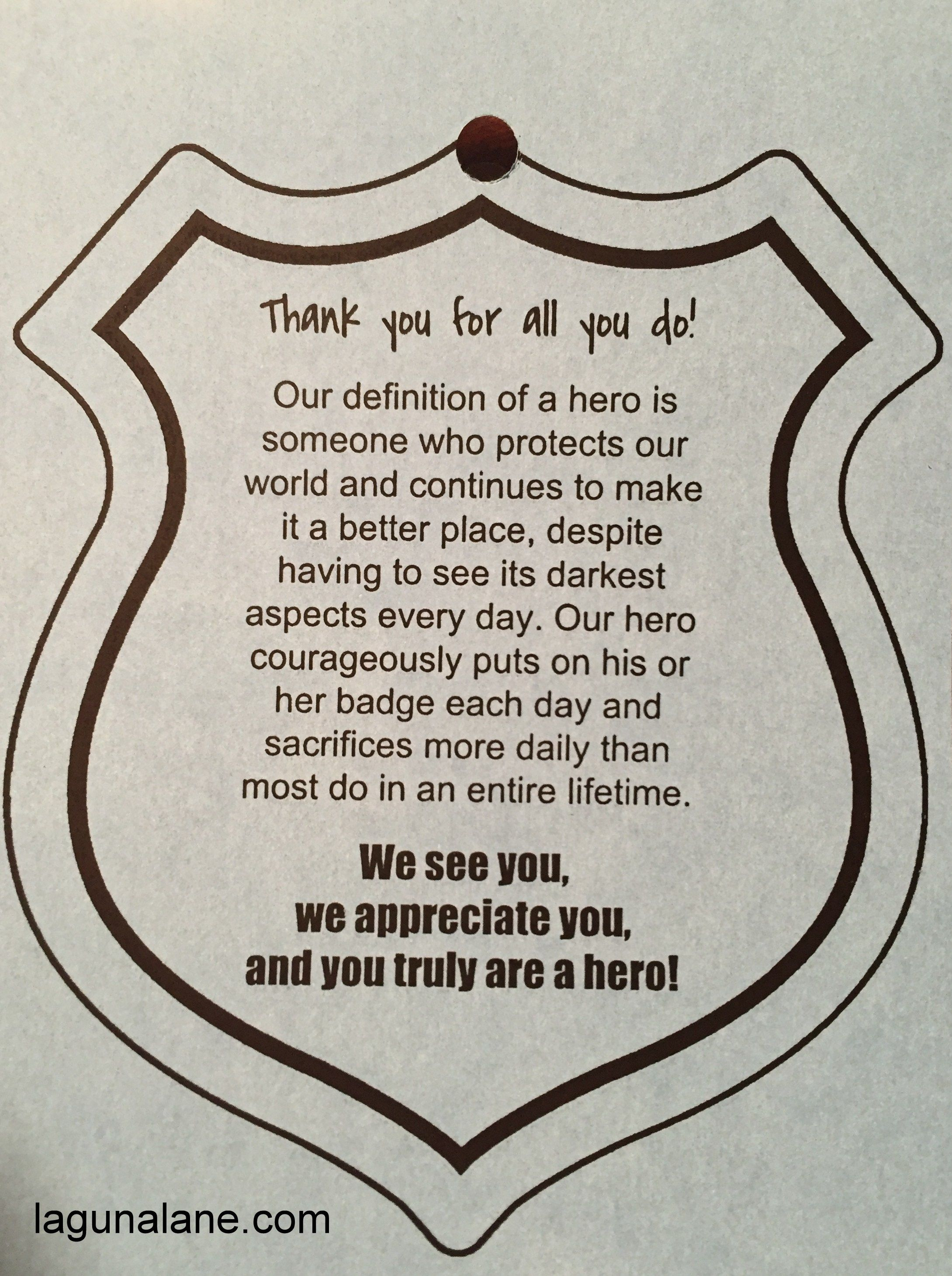 Police Appreciation Bags Free Printable Tags