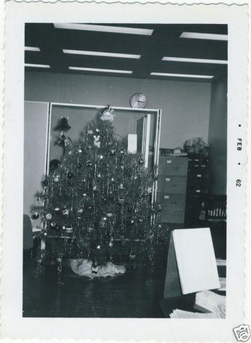 1961-Snapshot-Photo-Office-Xmas-Tree-Filing-Cabinets-Clock-etc