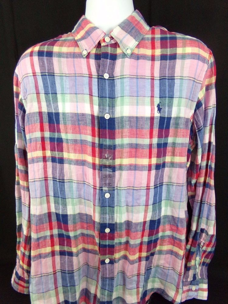 03d22078c8 Polo Ralph Lauren Custom Fit Linen Shirt Large Plaid Oxford Preppy Blue  Pony
