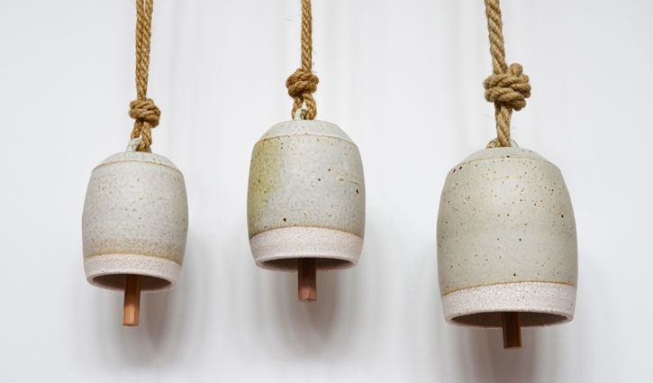 Thrown Bells - Stoneware, Wood & Hemp Rope - MQuan