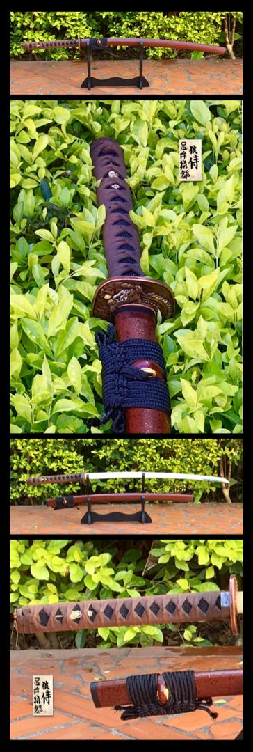 From my collection: AISI 1095 folded Steel maru-kitae Shinogui zukuri blade, Black Ray skin tsuka in hineri maki leather ito. Hishi gami .