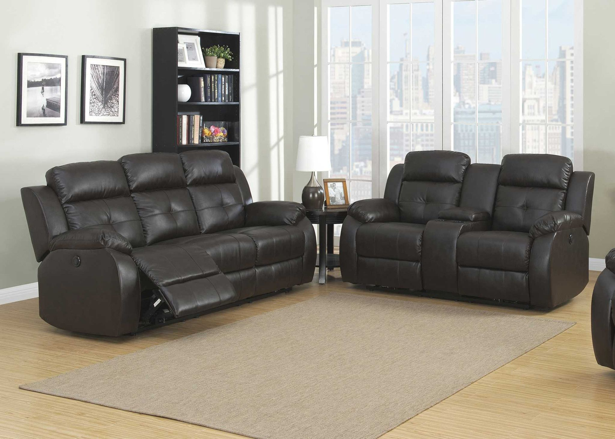 Troy power 2 piece transitional reclining living room set