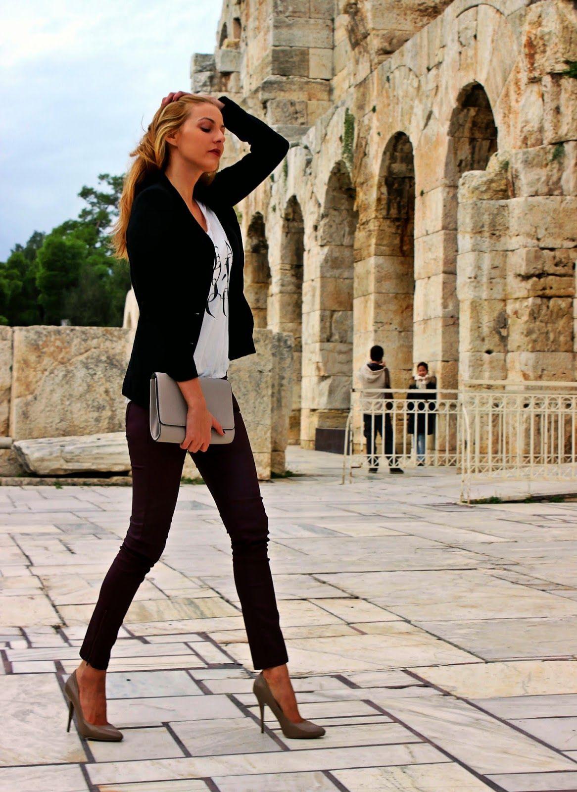 Black t shirt grey pants - Women S Black Blazer White And Black Print Crew Neck T Shirt Burgundy Skinny Pants Brown Leather Pumps