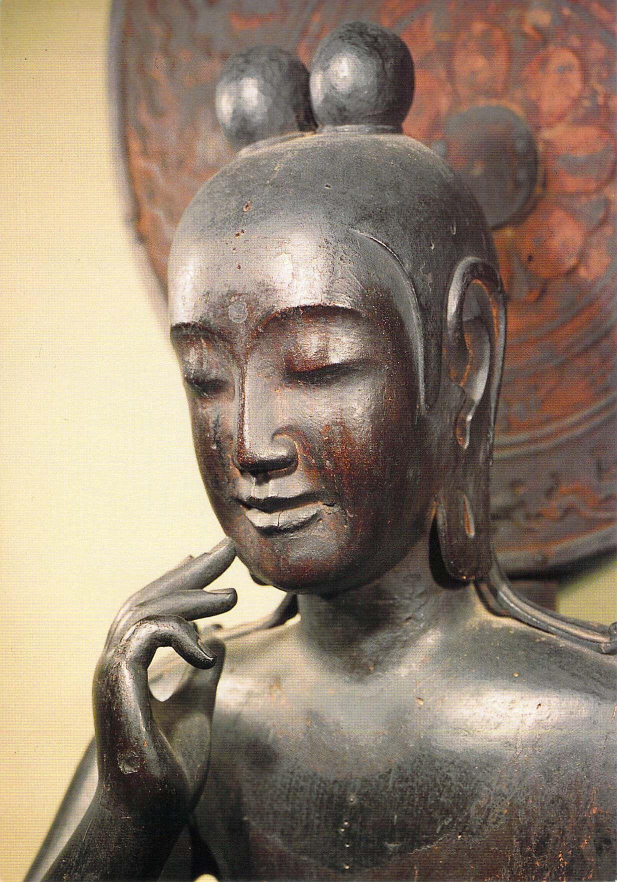 the camphor wood statue of miroku is a