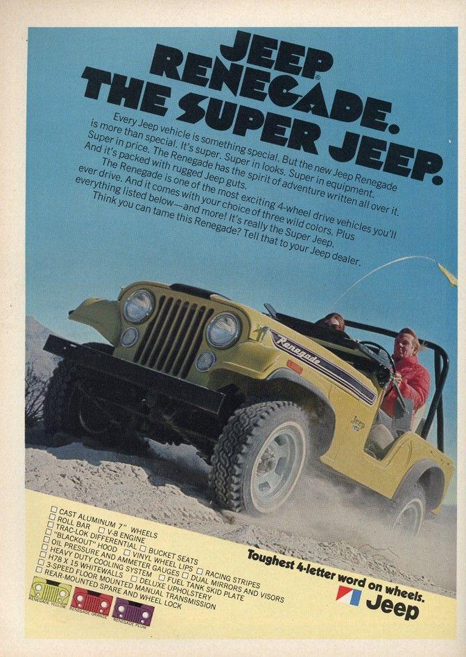 1972 Jeep Cj 5 Renegade Advertisement Jeep Renegade Jeep Jeep Cj