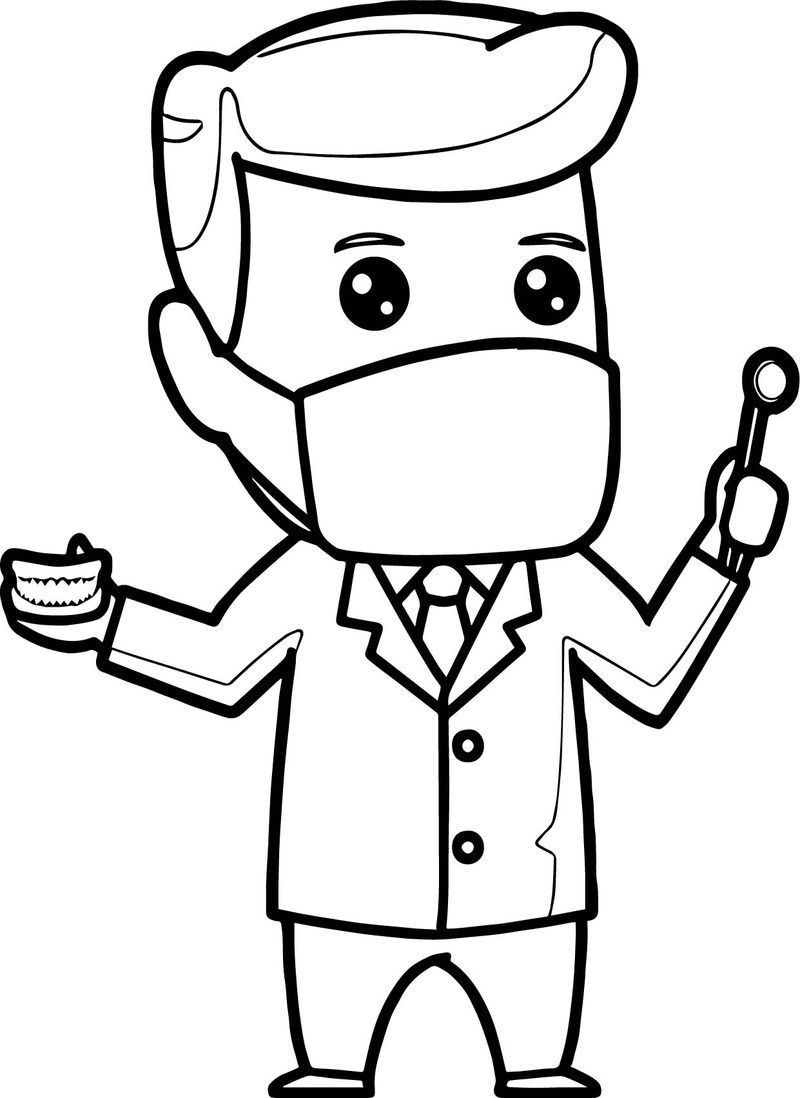 Cartoon Dental Man Coloring Page di 2020