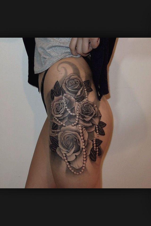 Thigh Roses Tattoos Tattoos Lace Tattoo Rose Tattoos