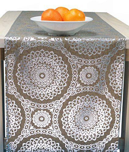 Elegant Items Similar To Sale   Table Runner Silver, Silver Table Runner In 72  Inch, 96 Inch, 108 Inch, 120 Inch Long Sizes   Silver Medallion On Etsy