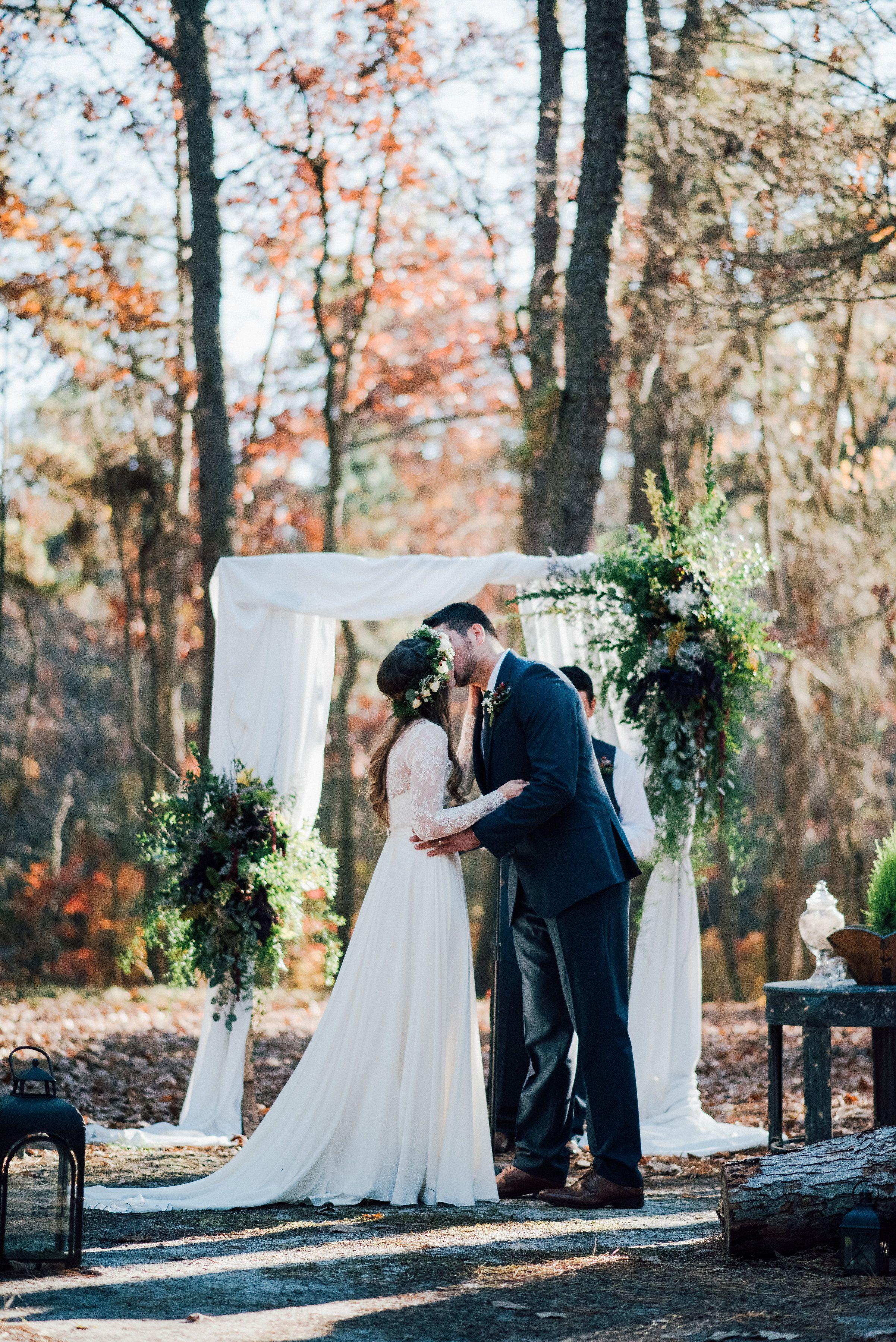 Fall outdoor wedding dresses  Outdoor Fall Wedding Ceremony Arch  Fall Wedding  Bride u Groom