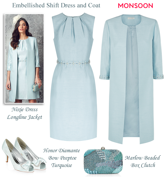 Monsoon light blue beaded shift dress and matching coat modern ...