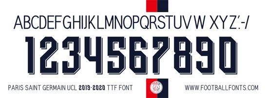 Paris Saint Germain 2019 2020 Ucl Font Ttf Otf Football Fonts Desain Olahraga